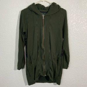 Prana Long Zip Green Cotton Sweater with Hood